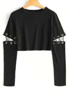 Criss Cross Cut Out Elbow Crop Tee - Black L