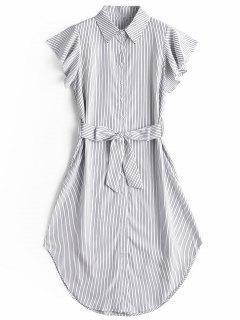 Ruffled Sleeve Striped Belted Dress - Stripe M