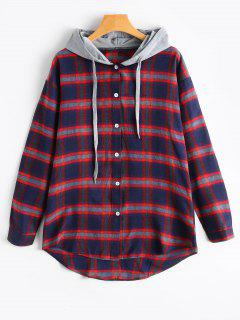 Button Up Checked Hooded Shirt - Red L