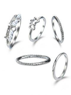 Rhinestone Love Circle Finger Ring Set - Silver