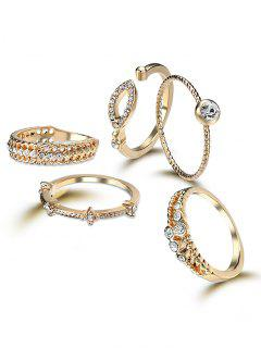 Rhinestone Circle Finger Cuff Ring Set - Golden