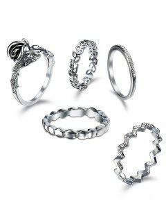 Rhinestoned Leaf Circle Finger Ring Set - Silver
