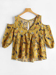 Cut Out Cold Shoulder Tiny Floral Blouse - Ginger S