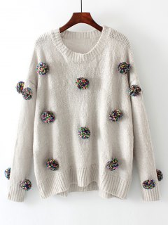 Oversized Balls Applique Sweater - Gray M
