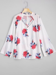 Cut Out Criss Cross Flower Print Blouse - Floral S