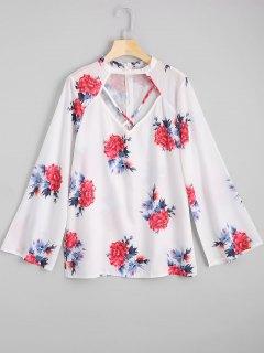 Cut Out Criss Cross Blumendruck Bluse - Blumen S
