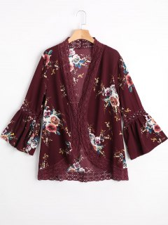 Hollow Out Flare Sleeve Floral Blouse - Wine Red S