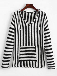 Front Pocket Striped Hooded Knitted Top - Black S