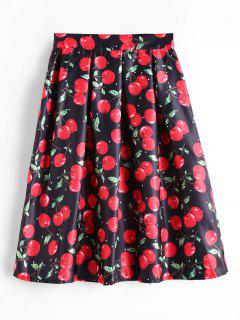 Cherry Print High Waist Flare Skirt - Black