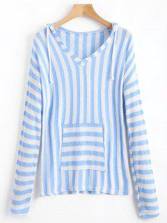 Front Pocket Striped Hooded Knitted Top - Light Blue S