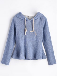 Drawstring Heathered Peplum Hoodie - Blue 2xl