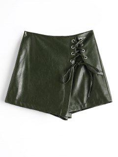Lace Up Faux Leather Skorts - Army Green L