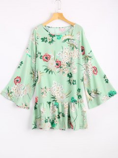 Flare Sleeve Flower Drop Waist Dress - Light Green Xl