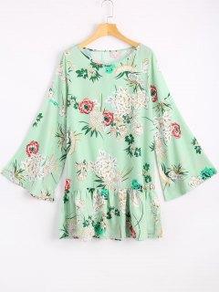 Flare Sleeve Flower Print Mini Dress - Light Green M