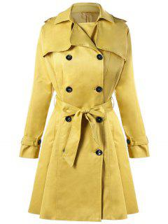 Tie Belt Double Breasted Trench Coat - Yellow 2xl