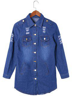 Flap Pockets Frayed Curved Denim Shirt Coat - Blue M