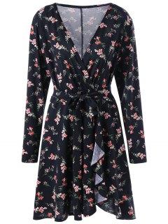 Long Sleeve Floral Surplice Wrap Dress - Black 2xl