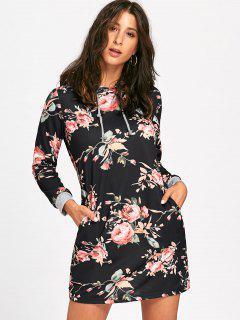 Floral Front Pocket Long Sleeve Hoodie Dress - Black L