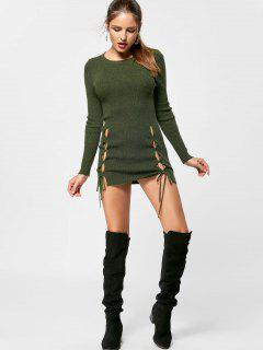 Lace Up Mini Jumper Dress - Olive Green L