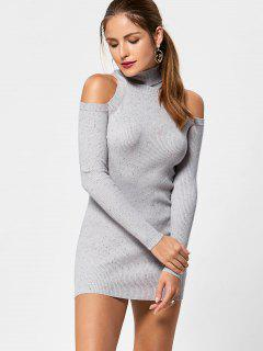 Turtleneck Cold Shoulder Jumper Dress - Light Grey M