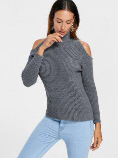 High Neck Cold Shoulder Sweater - Gray S