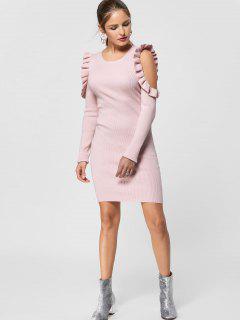 Ruffle Trim Cold Shoulder Jumper Dress - Light Pink L