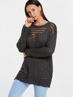 Side Slit Hollow Out Tunic Sweater - Deep Brown S