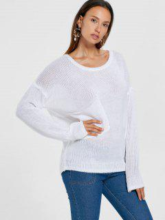 Patch Pocket Drop Shoulder Sweater - White L