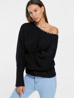 Skew Collar Chunky Sweater - Black S
