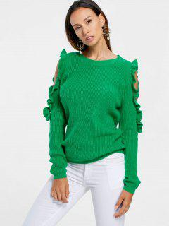 Frill Cold Shoulder Sweater - Green L