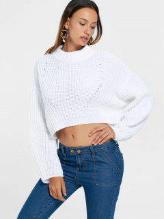 Batwing Sleeve Crop Sweater - White L