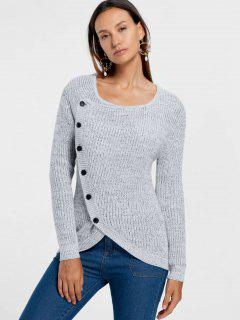 Single Breasted Overlap Sweater - Gray S