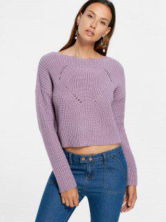 Drop Shoulder Crop Sweater - Pale Pinkish Grey S