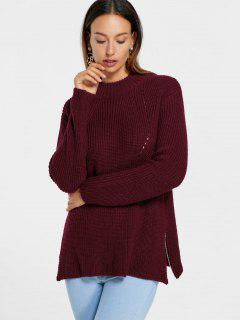 High Neck Side Zip Sweater - Wine Red S