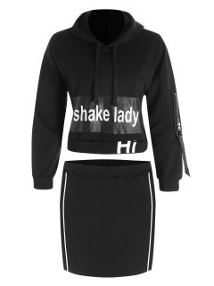Cropped Letter Hoodie And Bodycon Mini Skirt - Black S