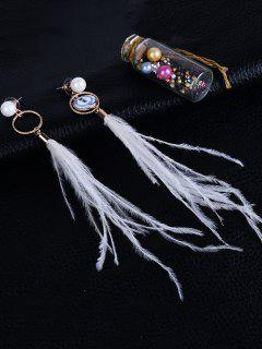 Faux Pearl Feather Tassel Long Earrings - White