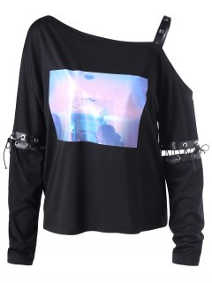 Skew Collar Lace Up Sweatshirt - Black 2xl