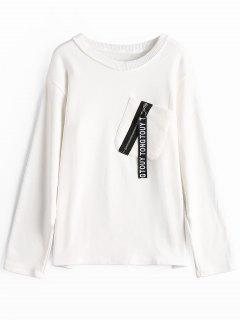 Zipper Embellished Pocket Sweatshirt - White