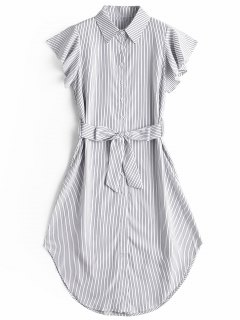 Ruffled Sleeve Striped Belted Dress - Stripe S
