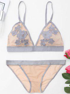 Mesh Lace Bralette Set - Gray 70b