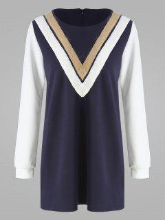 Plus Size Stripe Panel Long Sleeve Dress - Cerulean 3xl