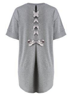 Plus Size Back Lace Up Tee Dress - Gray 3xl