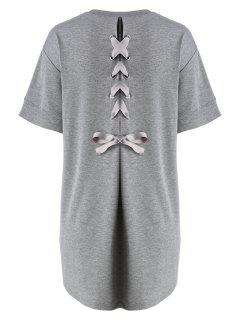 Plus Size Back Lace Up Tee Dress - Gray 4xl