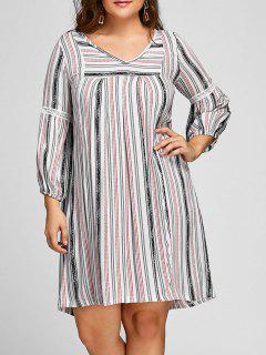 Plus Size Striped V Neck Dress - White 5xl
