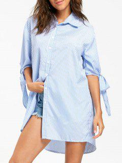Bowknot Striped Tunic Shirt - Light Blue Xl