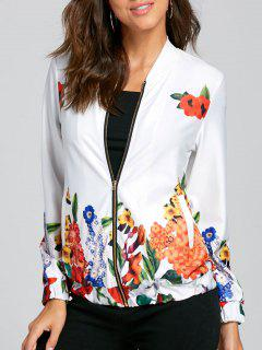 Zip Up Short Floral Jacket - Blanc S