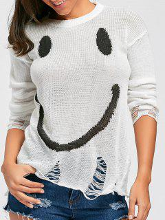 Smile Face Distressed Knitwear - White M