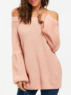 Off The Shoulder Raglan Sleeve Chunky Sweater - Pink