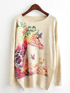 Giraffe Print Dolman Sleeve Knitwear - Beige