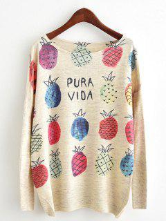 Dolman Sleeve Pineapple Print Knitwear - Beige